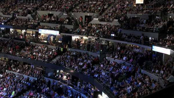 A packed stadium at Pepsi Center as Bill Clinton delivers a pro Barack Obama speech at the 2008 Democratic National Convention in Denver, Colorado. Royalty-free stock video