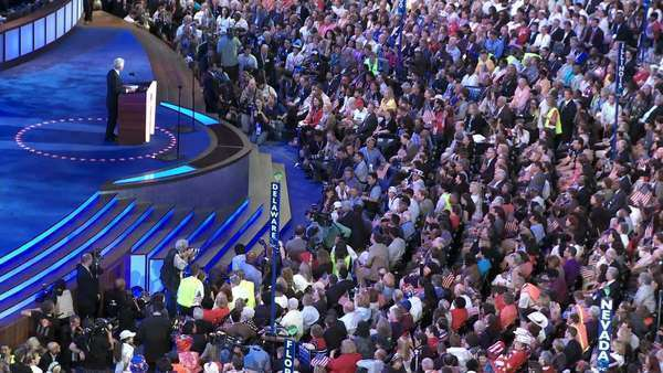 Former President Bill Clinton talks about Senator John McCain at a packed Pepsi Center at the 2008 Democratic National Convention in Denver, Colorado. Royalty-free stock video