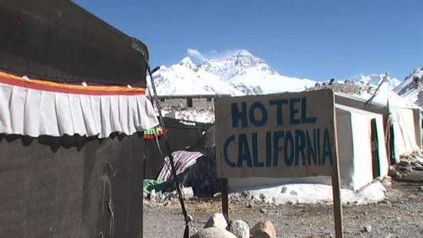 Hotel California sign with Mt. Everest in the background Royalty-free stock video