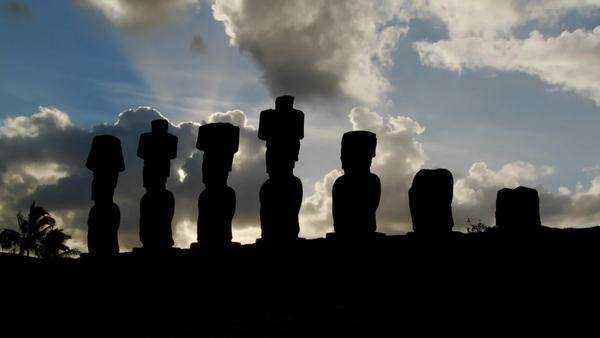 Clouds lend an air of mystery to the amazing statues at Easter Island. Royalty-free stock video