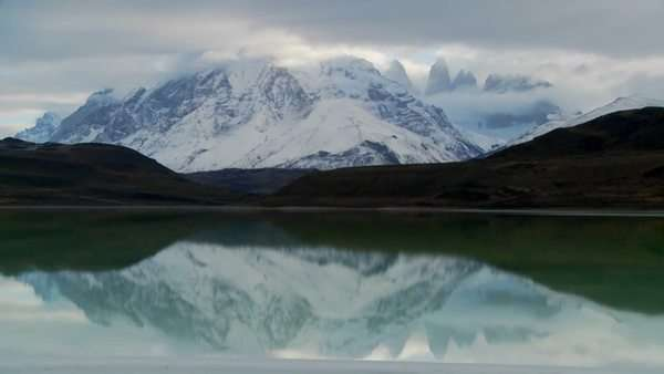 A beautiful lake in front of the peaks of Torres Del Paine in Patagonia, Argentina. Royalty-free stock video