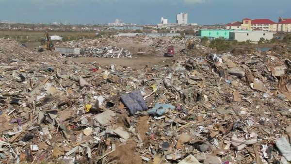 Junk is piled up in the wake of the devastation of Hurricane Ike in Galveston,  Texas. Royalty-free stock video