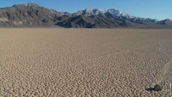 The mysterious rocks which race across the dry lakebed known as the Racetrack in Death Valley. Royalty-free stock video