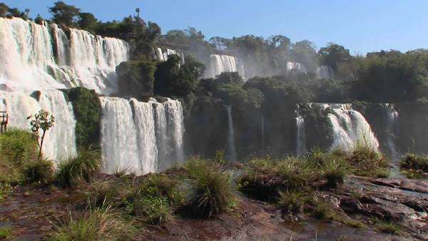 Iguacu Falls on the border of Brazil and Argentina. Royalty-free stock video