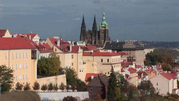 A view of Prague, Czech Republic includes distant cathedrals. Royalty-free stock video