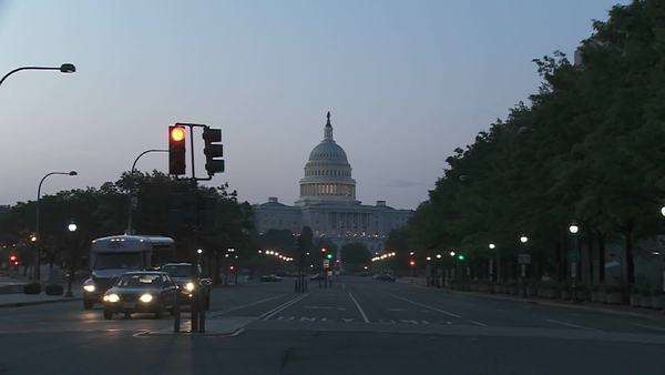 A zoom into the Capitol Building in Washington DC at dusk. Royalty-free stock video