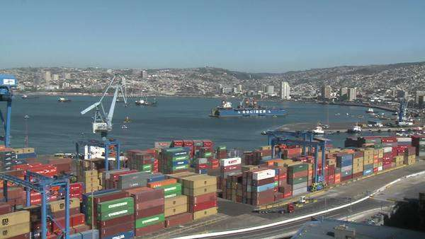 Pan across the container yard at the port of Valparaiso Chile. Royalty-free stock video