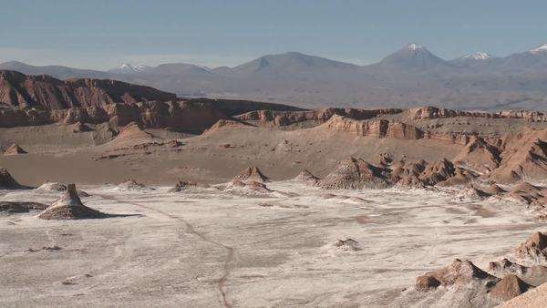 Pan across the Valley of the Moon and the Andes mountains near San Pedro de Atacama Chile. Royalty-free stock video