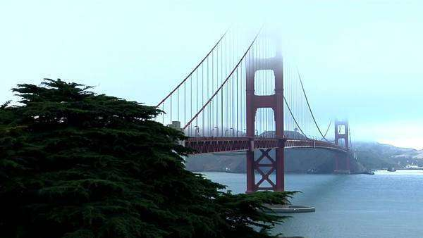 The Golden Gate Bridge graces the San Francisco bay skyline. Royalty-free stock video