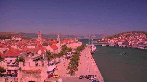 Aerial view of Trojir, Croatia's port and 1000 year old city. Royalty-free stock video