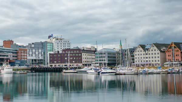 View of a marina in Tromso, North Norway timelapse Royalty-free stock video