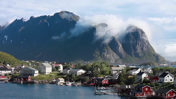 Lofoten is an archipelago in the county of Nordland, Norway Royalty-free stock video