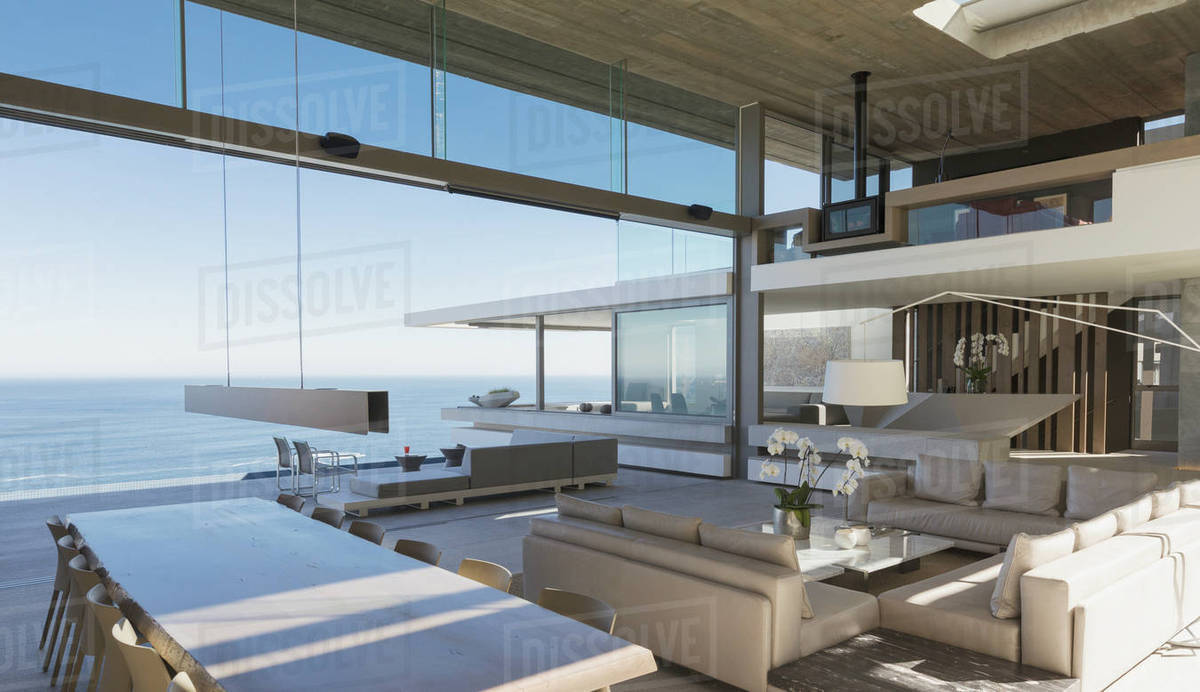 Modern, luxury home showcase interior living room and dining room ...