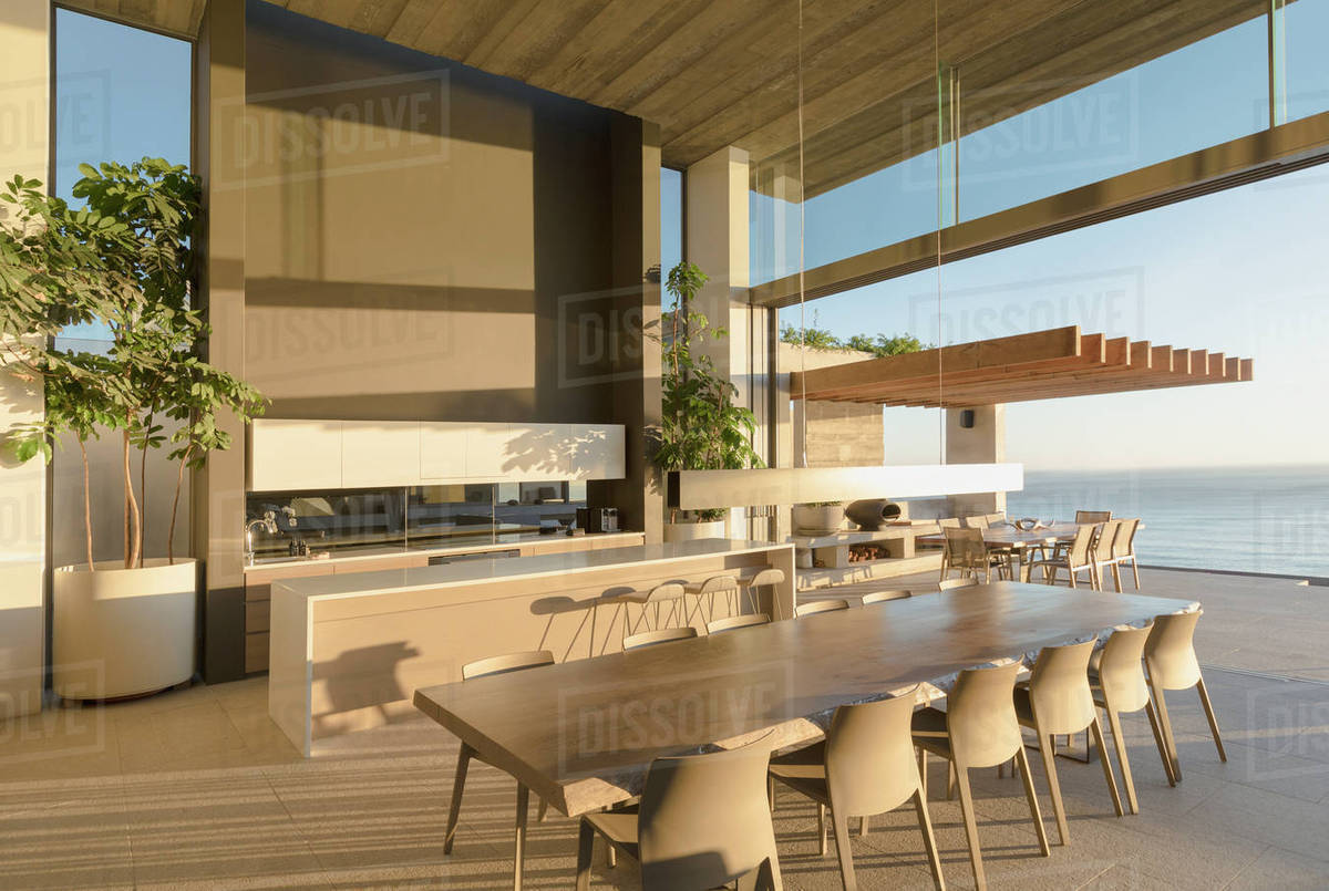 Sunny Modern Luxury Home Showcase Interior Dining Table With Ocean