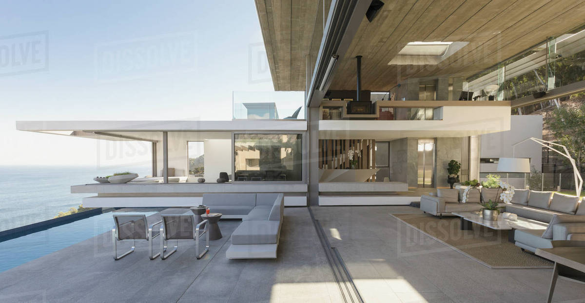 Modern, Luxury Home Showcase Living Room And Patio