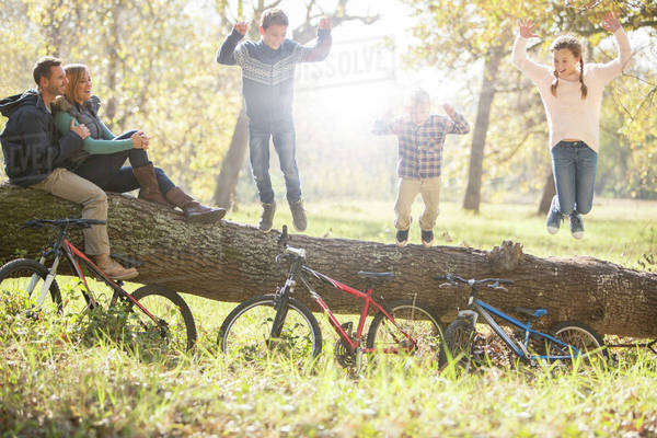 Family playing on fallen log with bicycles in woods Royalty-free stock photo