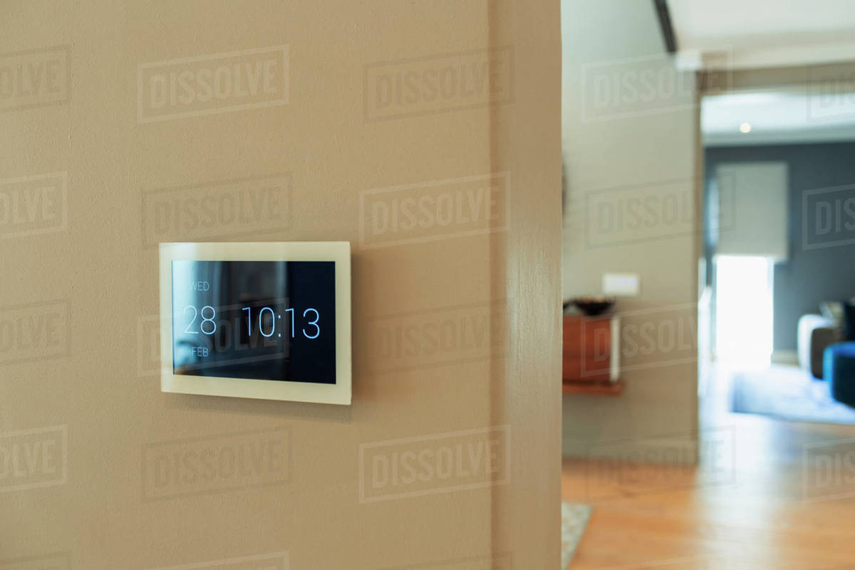 Digital home automation displaying date and time Royalty-free stock photo