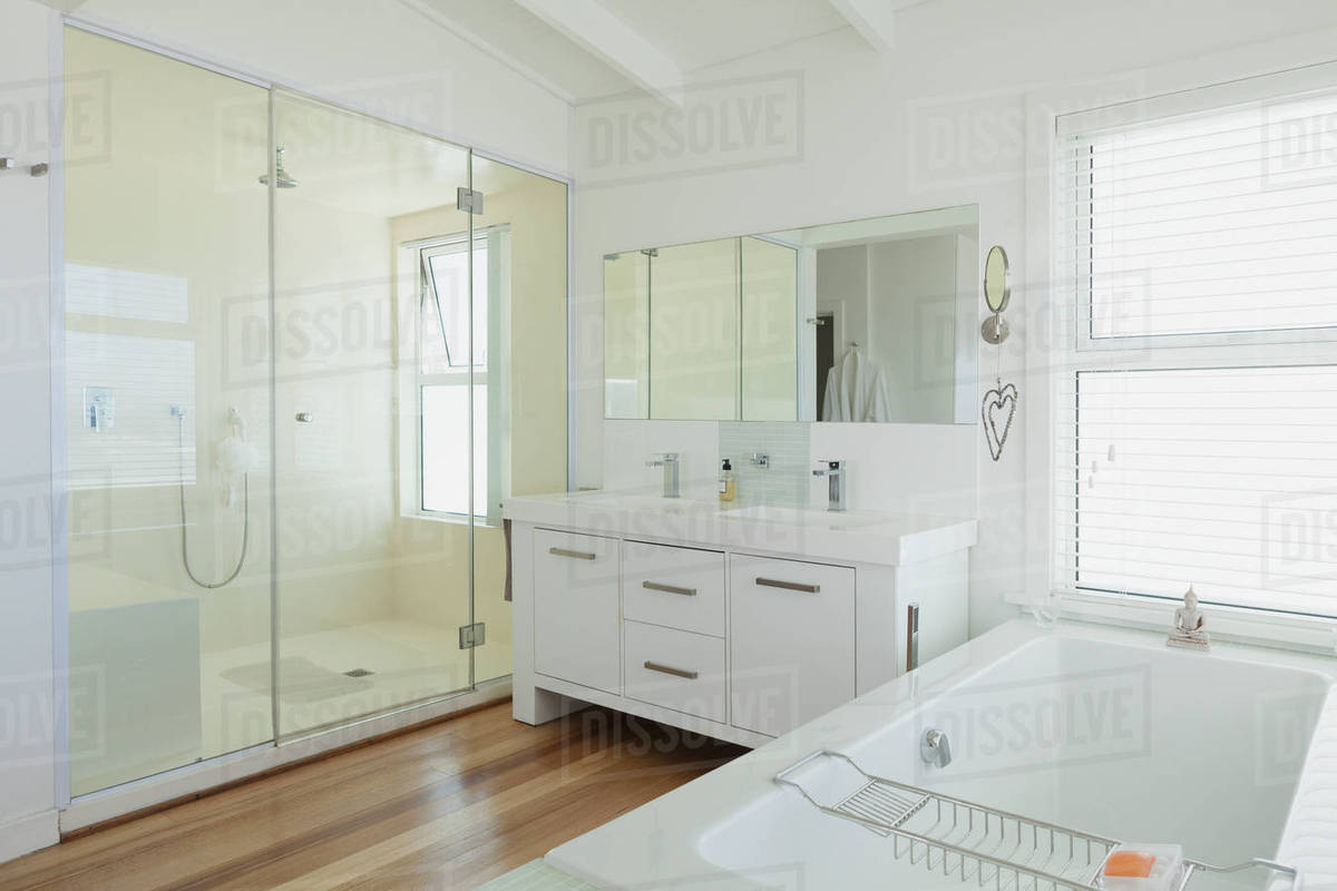 White modern bathroom home showcase interior - Stock Photo - Dissolve