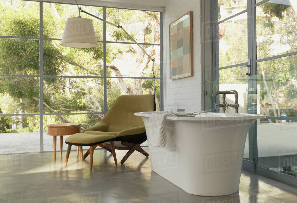 Soaking tub in home showcase interior bedroom with garden view ...