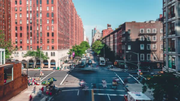 New York City from the High Line | 4K timelapse clip with a tilt shift effect.Shot from the High Line in New York City. Royalty-free stock video