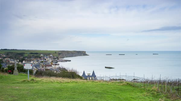 Timelapse of Arromanches, France - Panoramic view of the town Royalty-free stock video