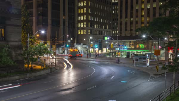Timelapse of Toronto, Canada - Queen and Bay Street at Night Royalty-free stock video