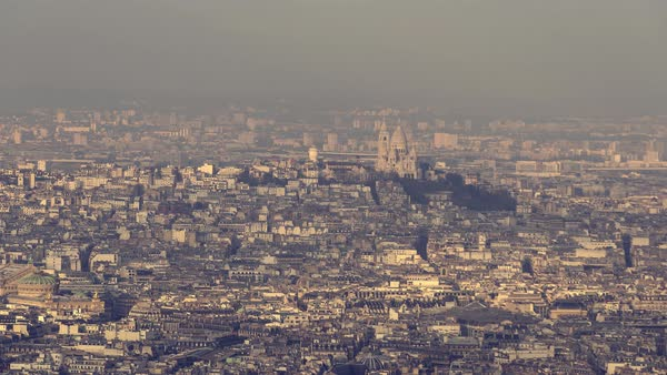 Paris, France - Aerial view of the Basilica of the Sacred Heart of Paris, commonly known as Sacré-Cœur Basilica Royalty-free stock video