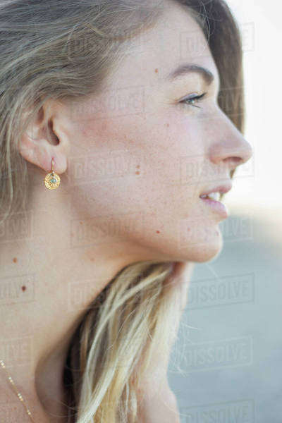 Profile portrait of a blond woman. Royalty-free stock photo