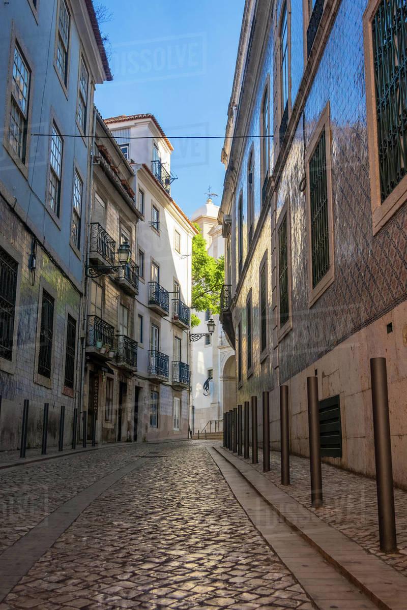 Narrow back streets of Lisbon, Portugal Royalty-free stock photo