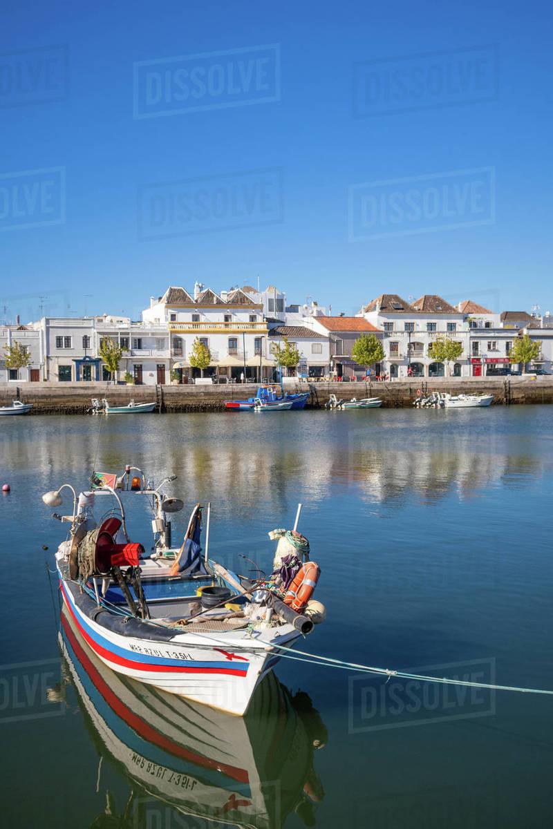 Fishing boats at Tavira; Eastern Algave; Portugal Royalty-free stock photo
