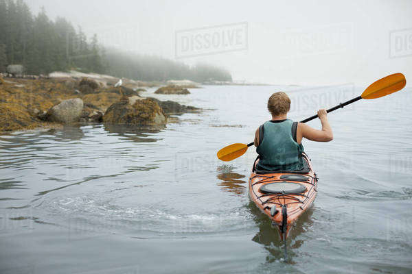 A man paddling a kayak on calm water in misty conditions. New York State, USA Royalty-free stock photo