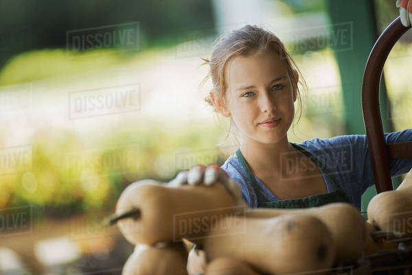 A young girl wearing a green apron, carrying a box of freshly picked butternut squash vegetables.  Royalty-free stock photo