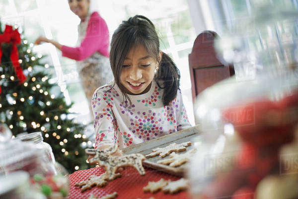 A young girl decorating Christmas cookies with icing. Royalty-free stock photo