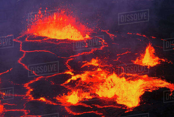Lava lake in Pu'u 'O'o crater, Hawaii Volcanoes National Park, Hawaii Rights-managed stock photo
