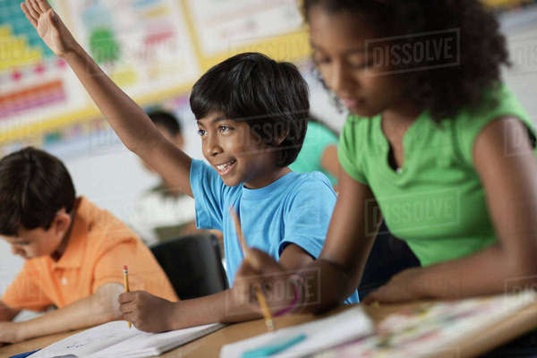 A group of young girls and boys in a classroom, classmates. A boy with his hand raised.  Royalty-free stock photo