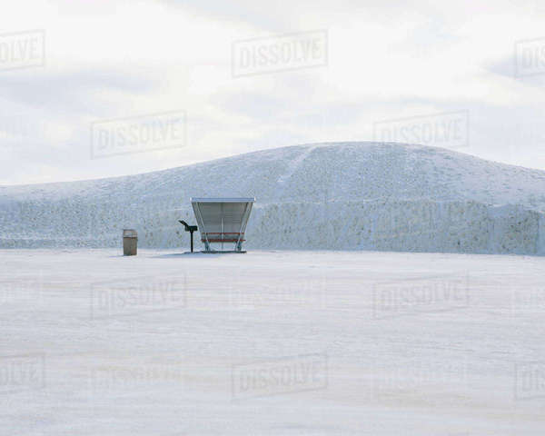 Picnic table and shelter at White Sands National Park Royalty-free stock photo