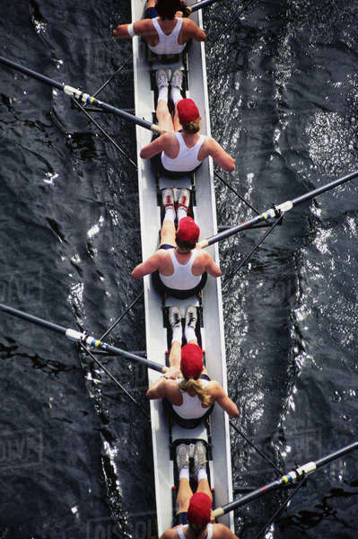 Overhead view of female crew racers rowing a sports racing shell.  boat Royalty-free stock photo