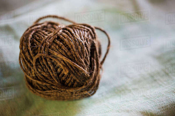 Close up of a ball of twine in a sailmaker's workshop. Royalty-free stock photo