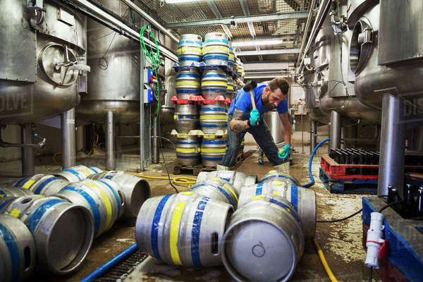 Man working in a brewery, using a mallet, closing metal beer kegs. Royalty-free stock photo