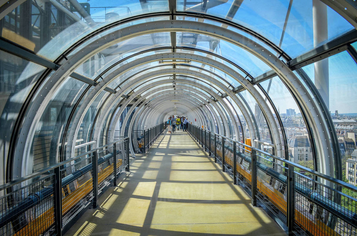 glass tunnel at the centre pompidou paris france stock photo