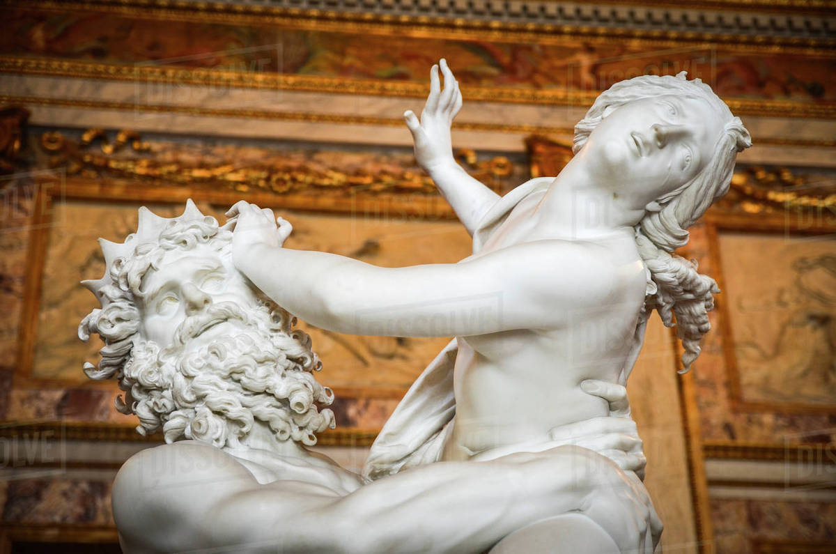 The Rape of Prosperpina by Pluto, Gian Lorenzo Bernini, marble statue in  the Galleria Borghese, Rome, Italy  stock photo