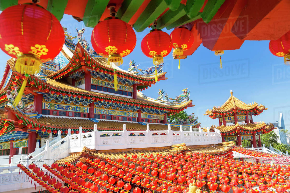 colourful chinese temple decorated with an abundance of traditional
