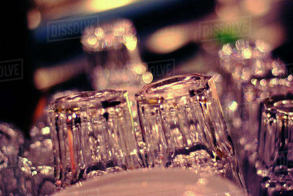 Close-up of empty glasses in a bar Royalty-free stock photo