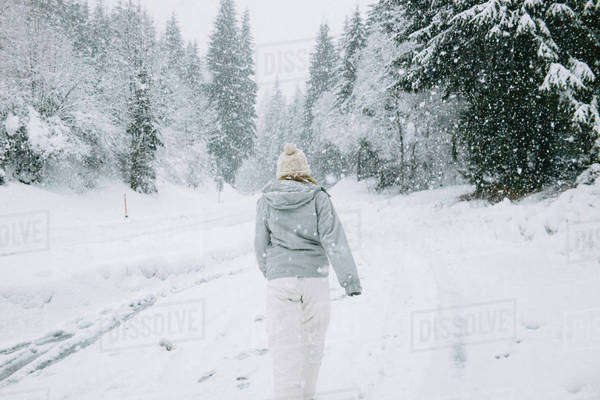 Back view of woman walking in a winter forest Royalty-free stock photo