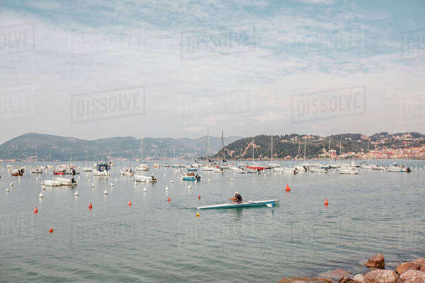 Kayaker rowing on the sea Royalty-free stock photo