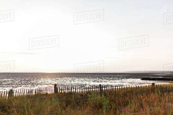 Beach at sunset during low tide Royalty-free stock photo