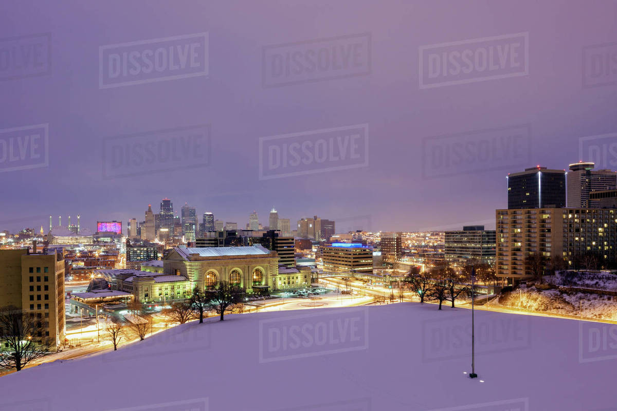 usa missouri kansas city in winter time stock photo dissolve. Black Bedroom Furniture Sets. Home Design Ideas