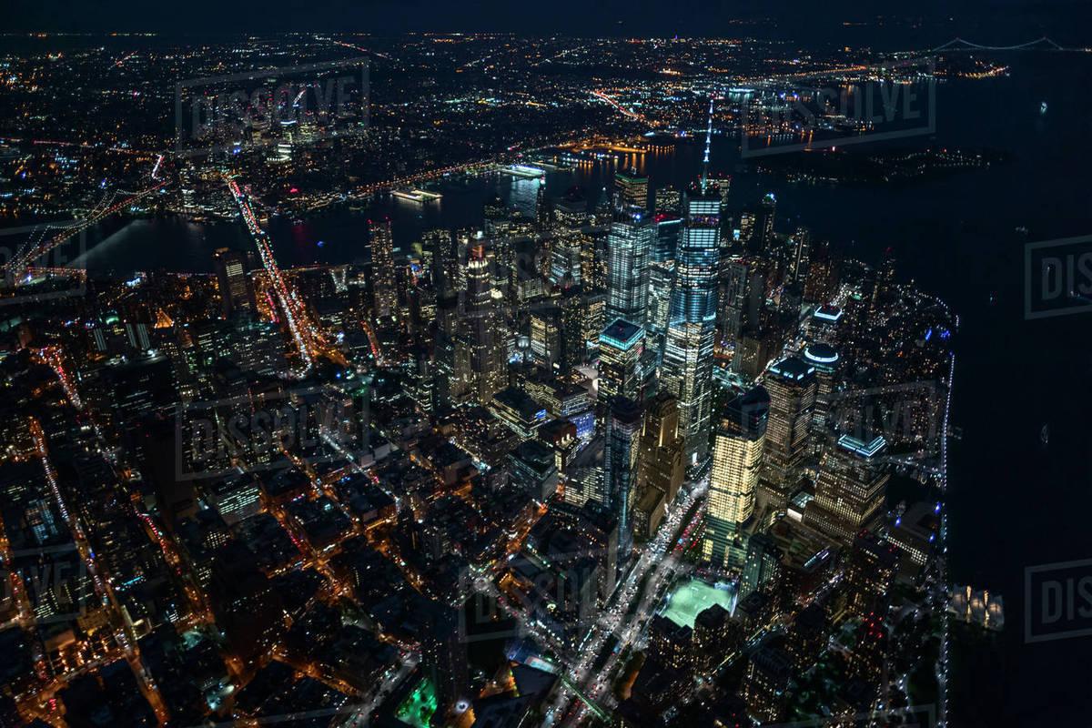Usa New York New York City City Lights At Night Stock Photo