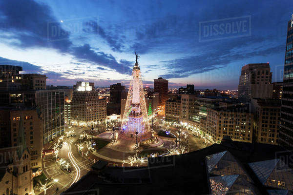 Elevated view of Indiana Soldiers and Sailors Monument  Royalty-free stock photo