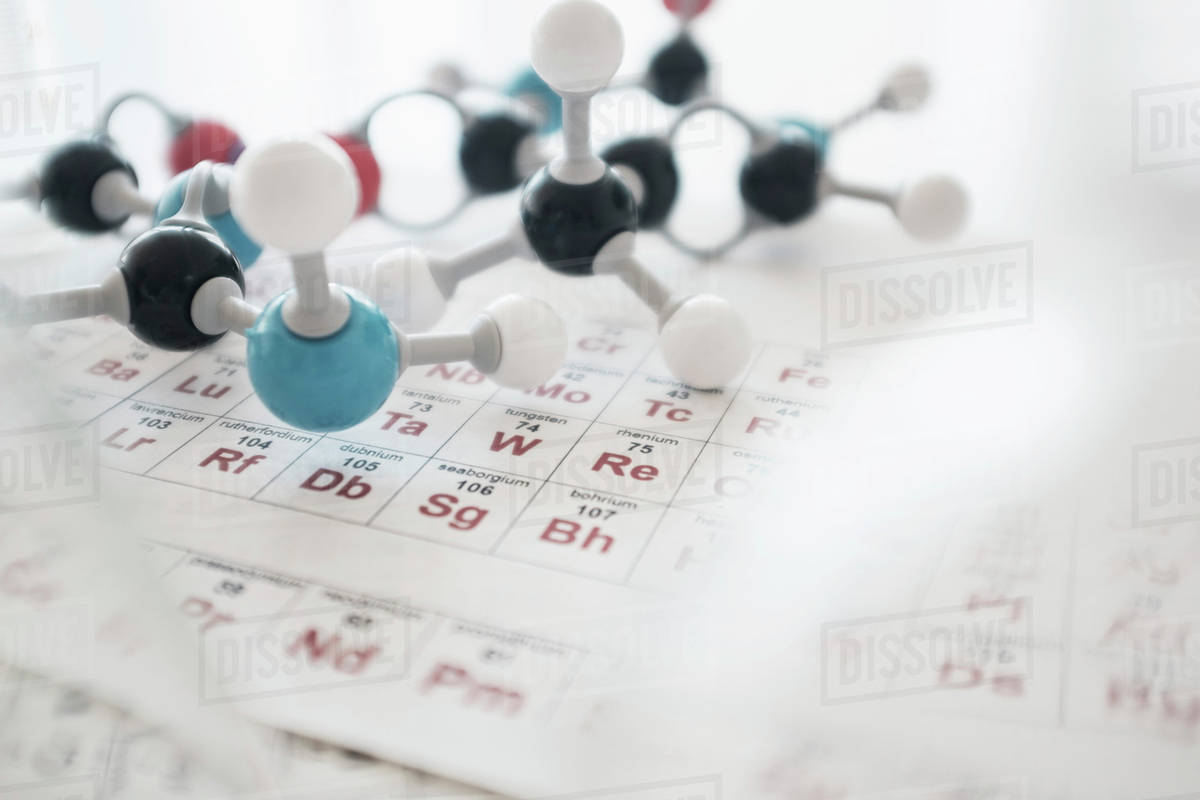 Fantastic Molecular Structure And Periodic Table On Desk Stock Photo Beutiful Home Inspiration Truamahrainfo